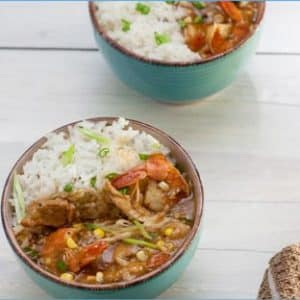 alligator and shrimp stew in blue bowl with rice