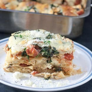 Slice chicken lasagna in white plate with blue rim