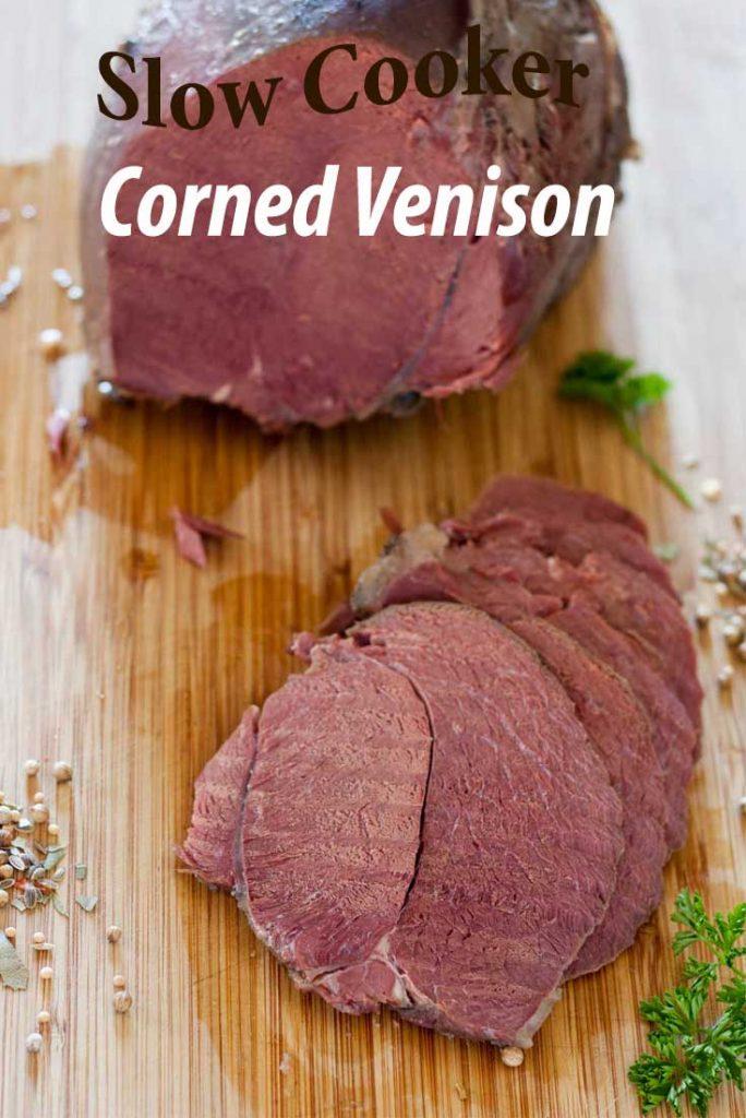 slow cooked corned venison pnterest image