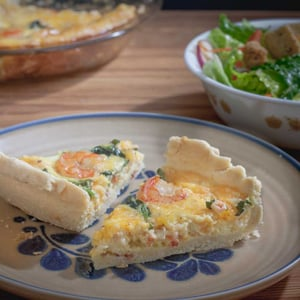 Shrimp & Asparagus Quiche with 4 cheeses