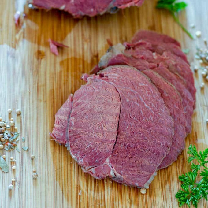 slow cooked corned venison
