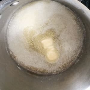 butter melting in pan