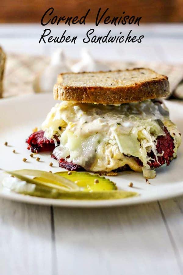 Corned venison reuben sandwiches Pinterest image with text overlay