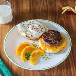 venison breakfast sausage breakfast sandwich with egg and cheese