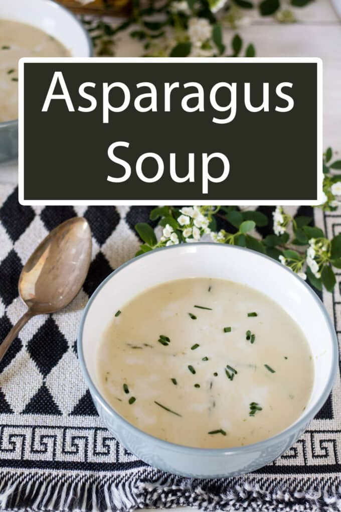 Asparagus soup Pinterest Pin with text overlay