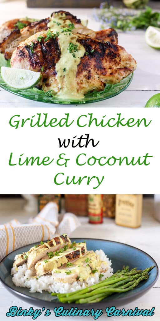 grilled chicken breasts with lime coconut curry pinterest image