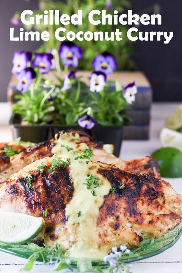 Grilled chickne with coconut lime curry Pinterest image with text overlay