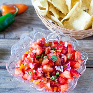 strawberry salsa in cut glass bowl