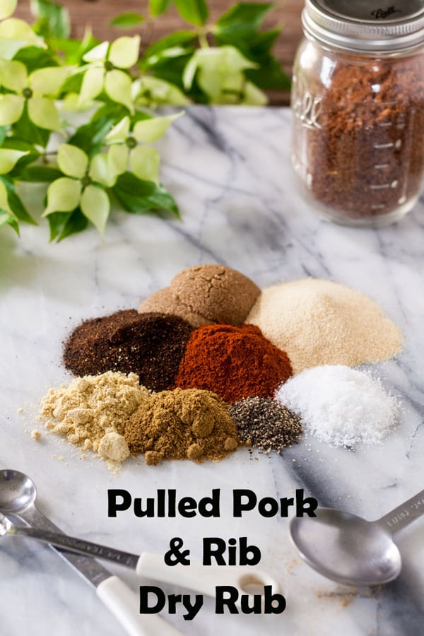 Dry rub for pork Pinterest image with text overlay