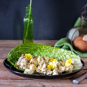 grilled chicken salad on lettuce leaf with edible yellow violets for garnish