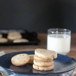 Pecan sandies cookies on dark blue plate with glass of milk