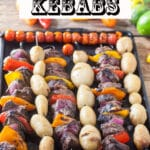 Grilled Venison kebabs Pinterest image with text overlay.