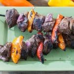 close up of venison steak kabobs