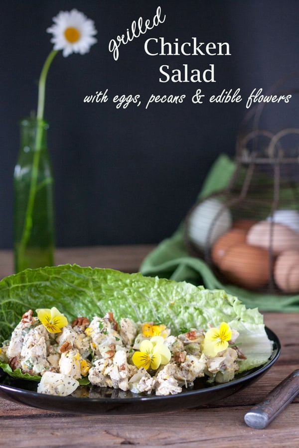 Grilled chicken salad Pinterest images with text overlay.