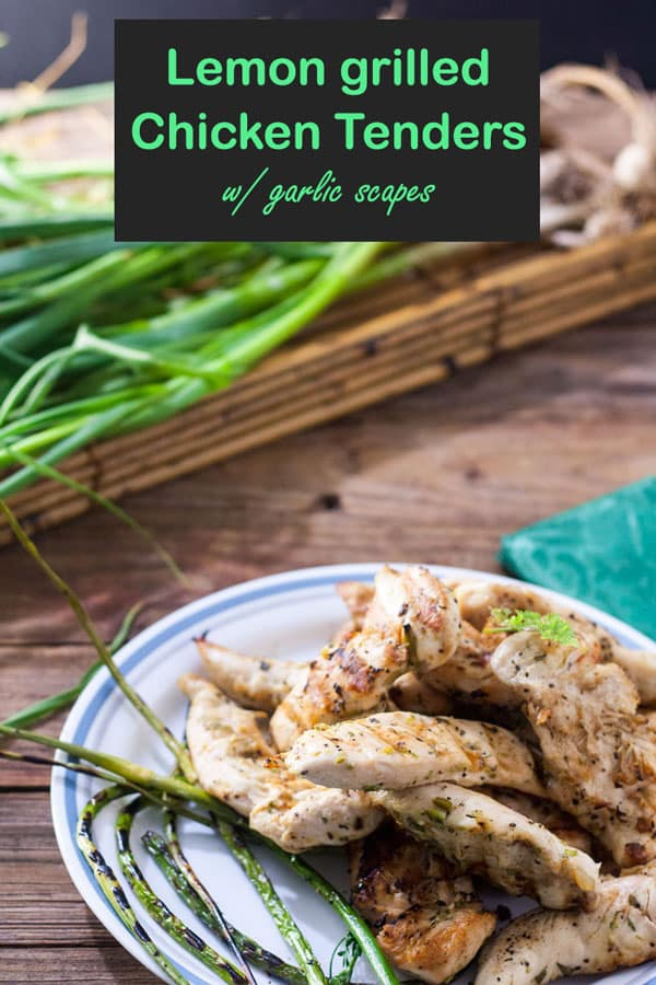 Grilled chicken tenders with garlic scapes Pinterest image