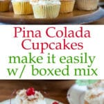 Pina colada cupcakes Pinterest image