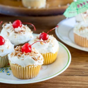 Pina colada Cupcakes on white plate