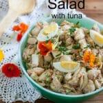 Macaroni salad with tuna Pinterest image with text overlay.