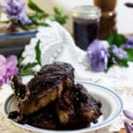 Blueberry BBQ Sauce on country pork ribs