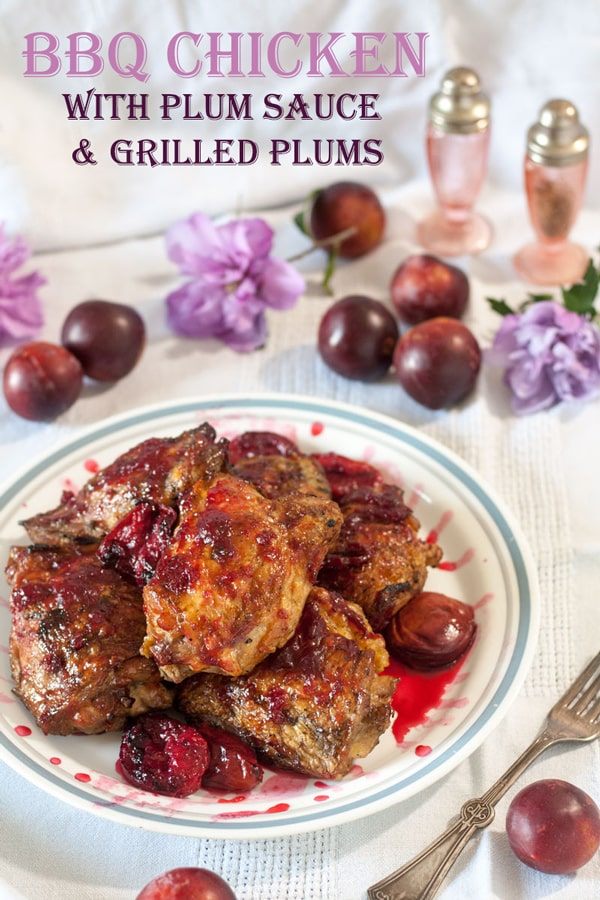 Grilled chicken with plum sauce and grilled plums Pinterest image with text overlay