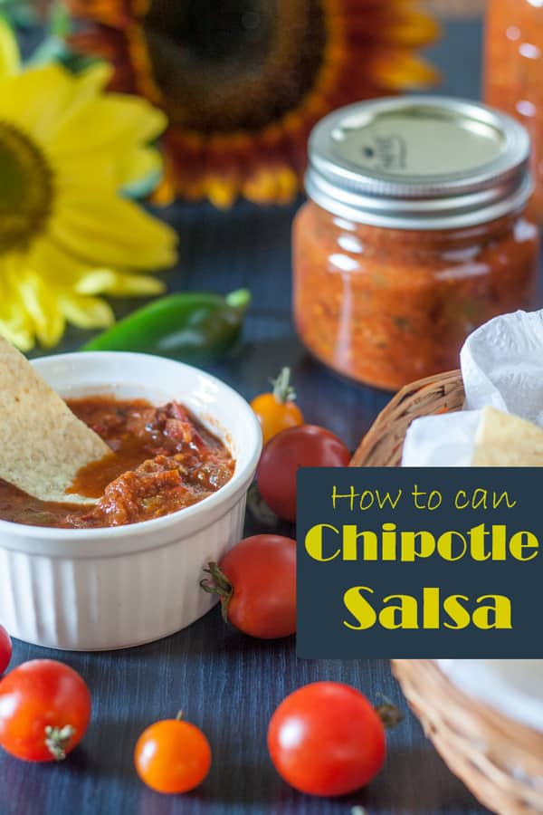Canning Chipotle salsa Pinterest image with text overlay.