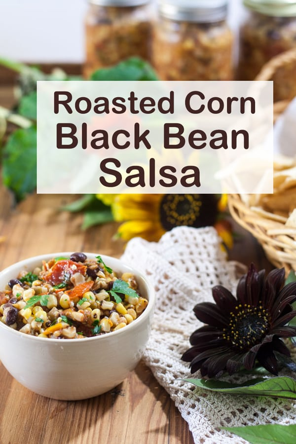 Roasted corn and black bean salsa Pinterest image with text overlay.