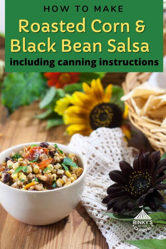 Corn and bean Salsa Pinterest Pin with text overlay