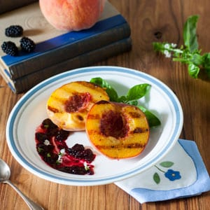 Grilled Peaches with Blackberry Wine Sauce