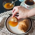 low sugar peach jam with croissants