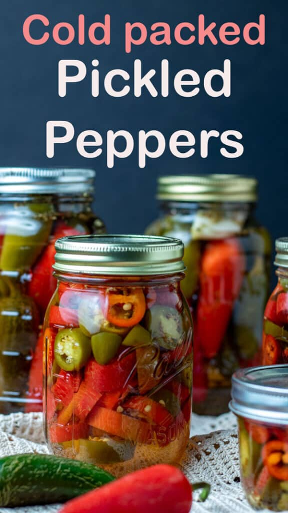 Pickled peppers Pinterest images with text overlay.