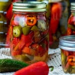Colorful pepper in jars.