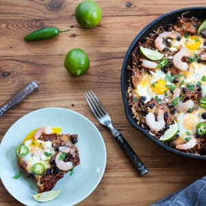 BAked Chilaquiles with Shrimp are a lighter version of the typical fried chilaquiles with chorizo