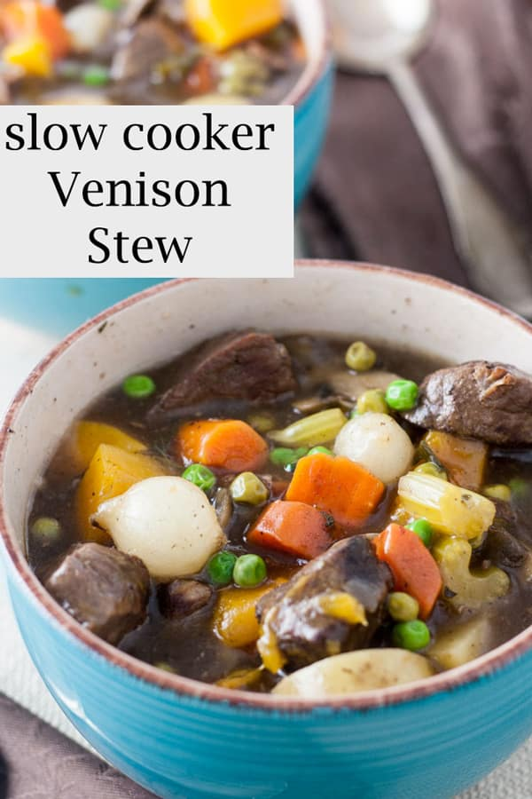 Venison stew Pinterest image with text overlay.