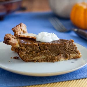 Dairy free pumpkin pie slice with dollop whipped cream on white plate