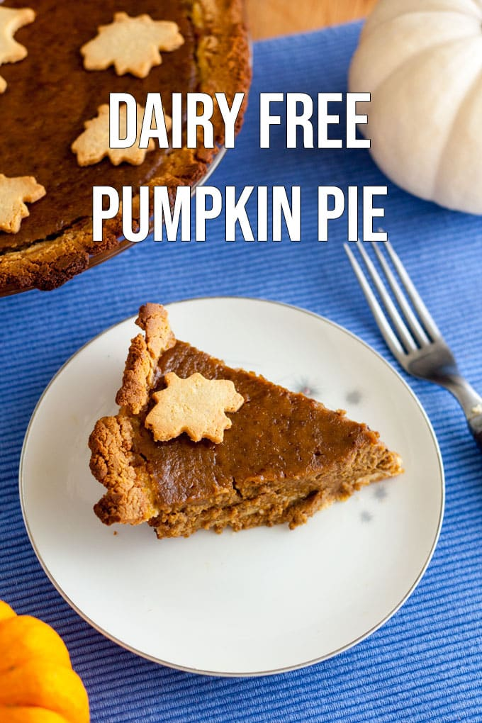 Dairy free Pumpkin Pie Pinterest image with text overlay.