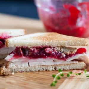 Halved turkey sandwich.