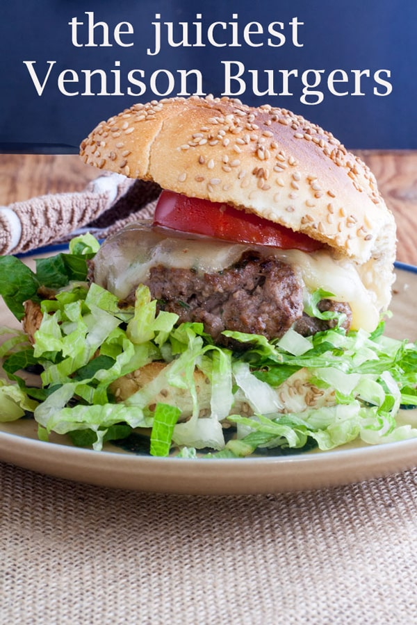 Venison burgers Pinterest image with text overlay