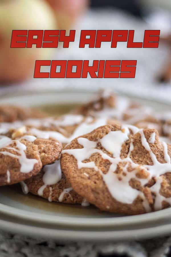 Apples cookies Pinterest image with text overlay.