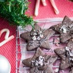 chocolate peppermint cookies on wire cooling rack