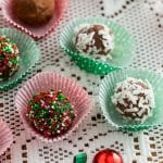 chocolate truffles in decorating baking cups on lace