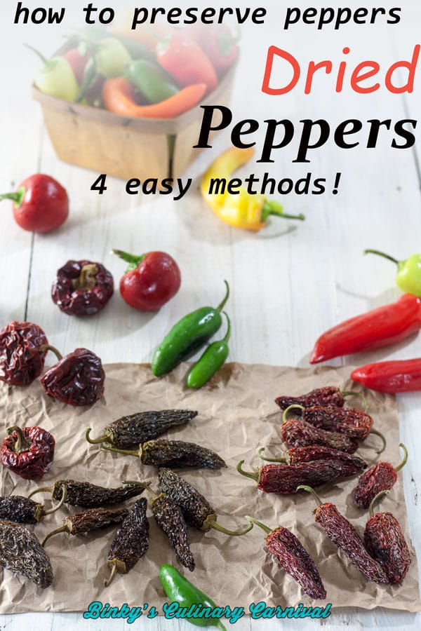 Fresh and dried peppers on white board with text overlay.