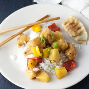 Sweet and sour chicken recipe with peppers and pineapple
