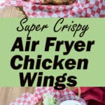 Air fryer chicken wings Pinterest image with text overlay.