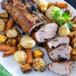air fryer pork loin with colorful roasted vegetables