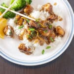 Sesame chicken Pinterest image with text overlay.