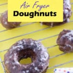 Air fryer doughnuts Pinterest image with text overlay.