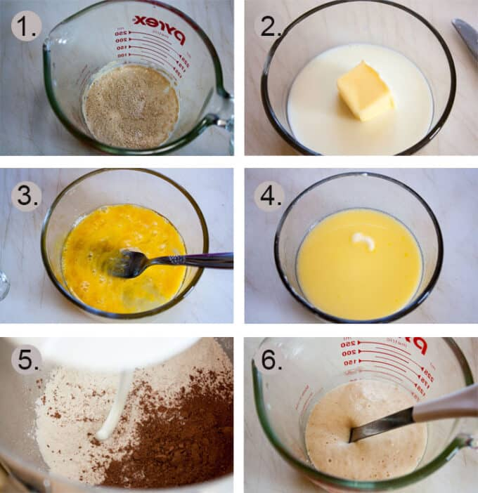 Yeast added to warm milk to bloom. Butter and milk in small bowl. Eggs Whisked. Melted butter. Dry ingredients in bowl. Bloomed yeast.