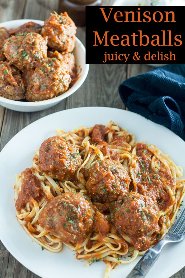 Venison meatballs Pinterest image with text overlay
