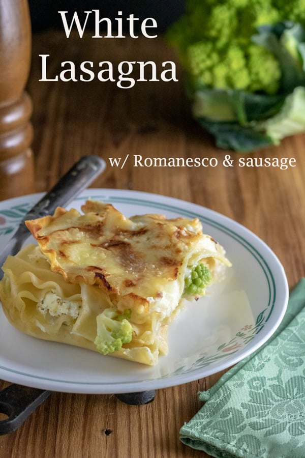 White lasagna Pinterest image with text overlay.