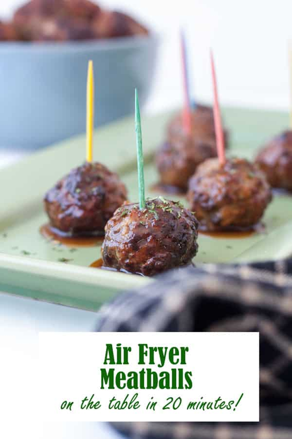 Air Fryer meatballs Pinterest image with text overlay